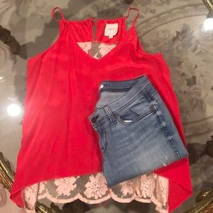 Mason red silk blouse with lace back